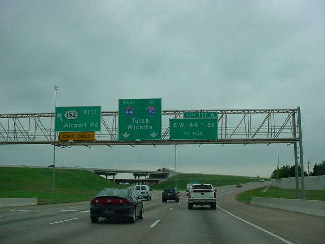 Interstate 44 East at Exit 116B - OK 152 West