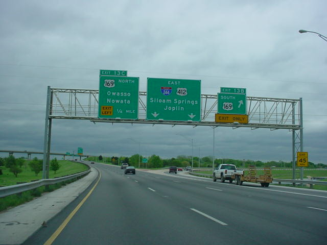 Interstate 244 East at Exit 13B - U.S. 169 South