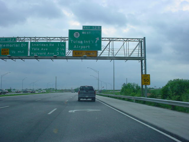 Interstate 244 West at Exit 12B - OK 11 West