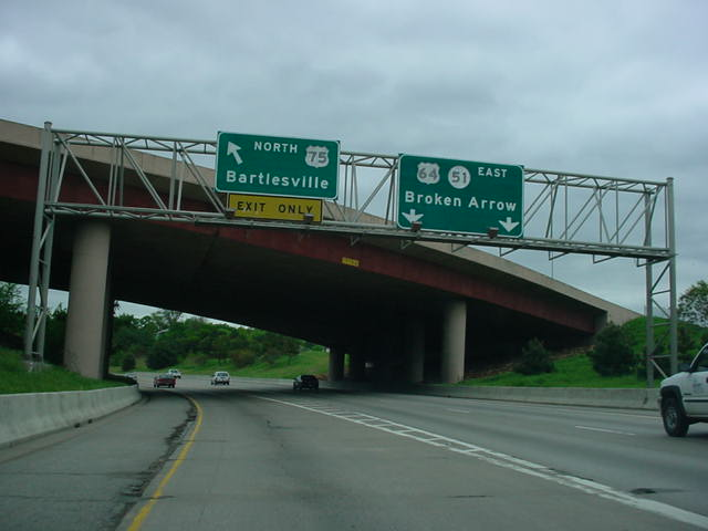 Hidden Interstate 444 East (U.S. 64/OK 51 East/U.S. 75 North) at U.S. 75 North exit